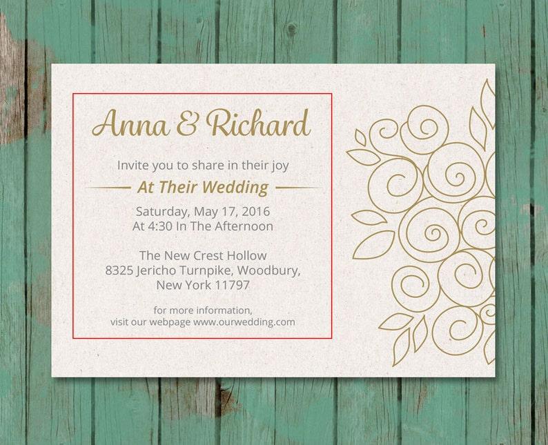 Printable Wedding Invitation PDF Wedding Invitation. Save the Date Template Wedding Invitation with Gold Flowers Save the Date Printable