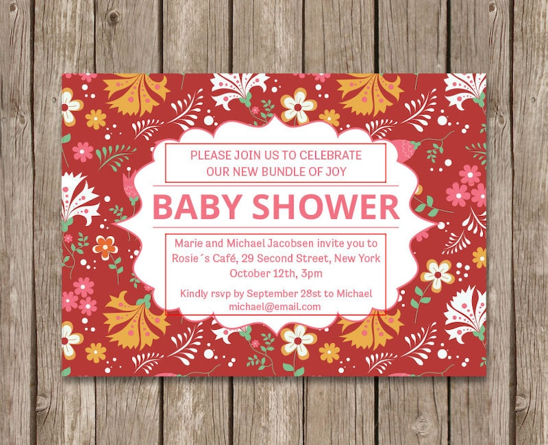PDF Baby Shower with Flowers. Printable Baby Shower Invite Baby Shower Printable Floral Baby Shower Invitation Baby Shower Template