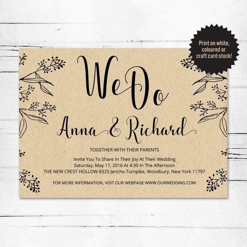 Wedding Invitation Template We Do Invitation Rustic Wedding Pdf Wedding Invitation Digital Wedding Invitation