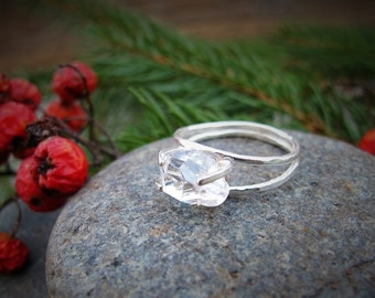 Herkimer Diamond Non-Traditional Wedding Band, Statement Ring, Hammered Engagement Ring, Promise Ring, Uncut Crystal Raw Stone, Gift for Her