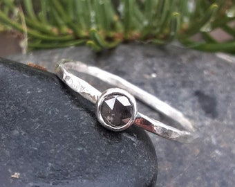 Rose Cut Black Diamond Engagement Ring, Salt and Pepper Uncut Sterling Silver Non Traditional Engagement Ring, Alternative Gold or Rose Gold