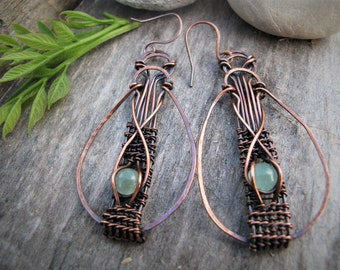 Green Aventurine and Copper Dangle Earrings, Wire Wrap Earrings Boho Jewelry Handmade One of a Kind Gift for Her Mom Gemstone Drop Earrings,