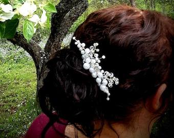 Pearl, Crystal, and Sterling Silver Bridal Hair Piece, Bridal Party Hair Vine Accessories Wedding Headpiece Flower Girl Hair Clip Hair Comb