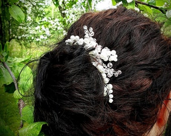 Ivory Pearl, Blush Pink Crystal, and Sterling Silver Bridal Hair Piece Hair Vine Accessories Wedding Headpiece Flower Girl Clip Hair Comb