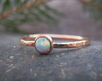 Rose Gold Birthstone Ring, Hammered Engagement Ring, Personalized Stacking Ring, Solitaire Ring, Promise Ring, Family Jewelry, Gift for Mom