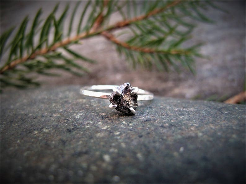 Raw Black Diamond Engagement Ring Uncut Diamond Non Traditional Engagement Ring Alternative Engagement Ring Gift for Her Unique Ring