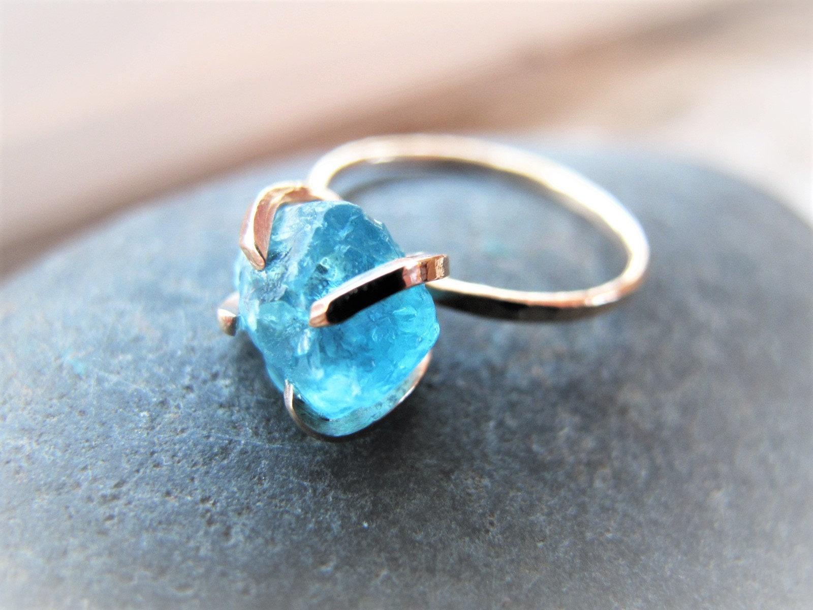 Raw Apatite Non Traditional Engagement Ring, Uncut Gemstone Raw ...