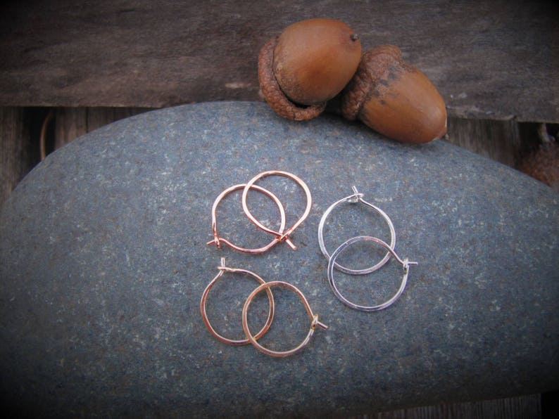 Thin Small Hoops Gift Under 25 Sleeper Hoops Stocking Stuffer or Rose Gold Hoop Earrings Gold Minimal Hammered Earrings Tiny Silver