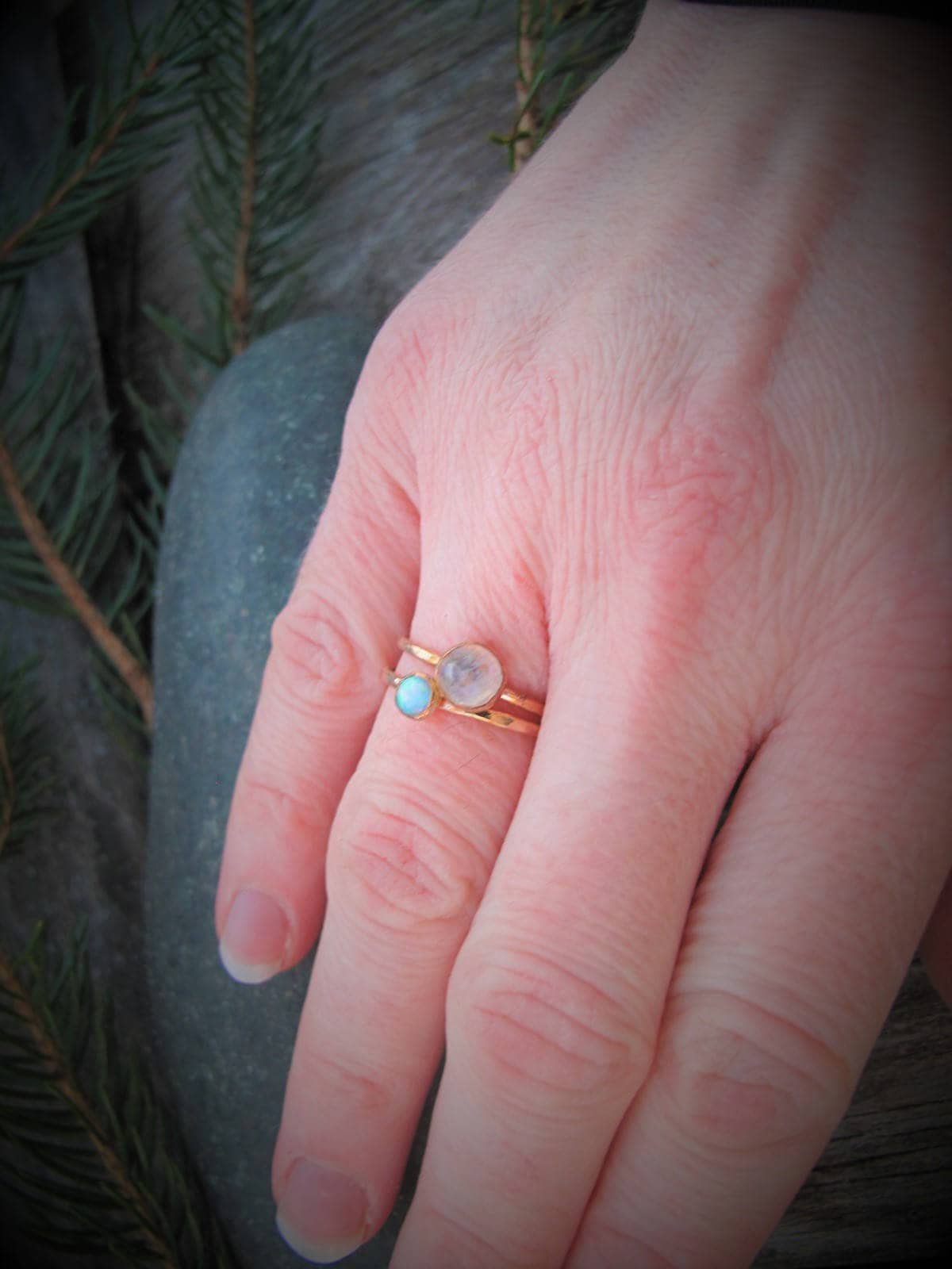 Rose Gold Birthstone Ring, Hammered Engagement Ring, Personalized ...