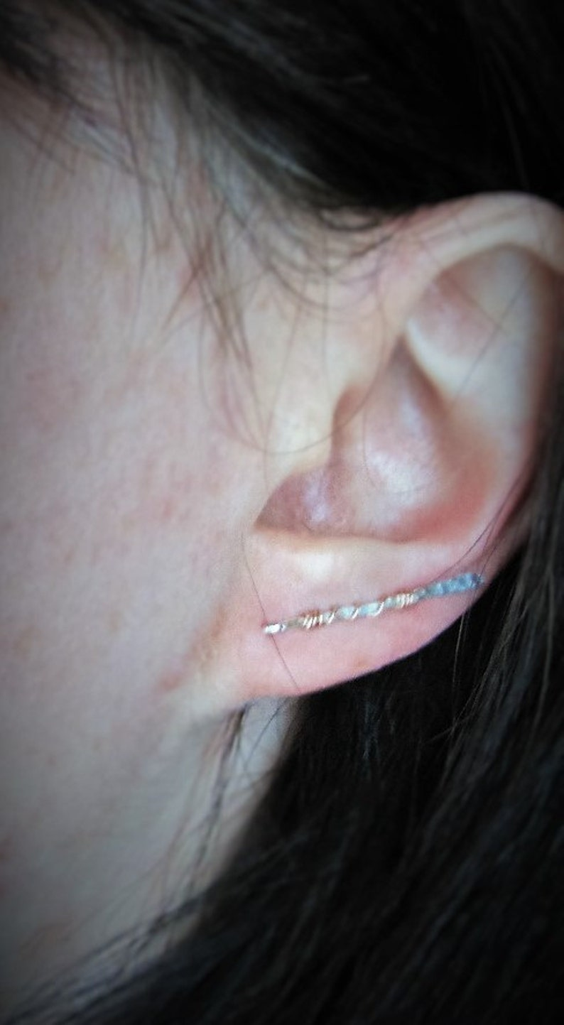 Stocking Stuffer Ear Bar Hammered Ear Pin Sterling Silver Ear Crawlers Ear Cuff Ear Sweep Minimal Silver and Rose Gold Ear Climbers