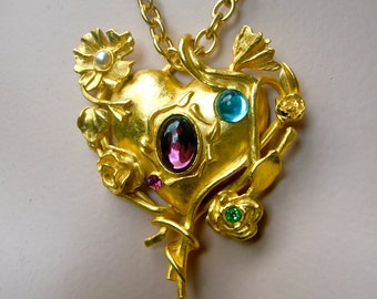 CHRISTIAN LACROIX 1990  Heart and Mirror Pendant