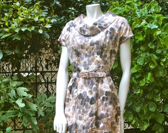 PIERRE BALMAIN 1950 Trees Patterned Silk Summer Dress