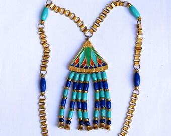 HATTIE CARNEGIE 1970 Egyptian Revival Lotus Necklace