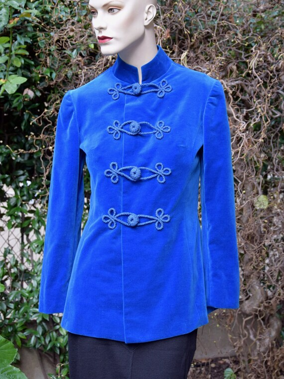 EMILIO PUCCI 1960 Cerulean Blue Velvet Military Ja