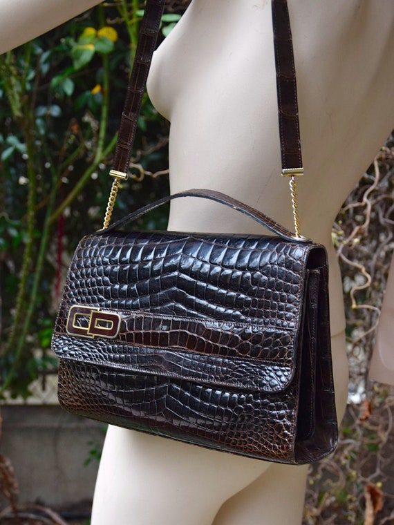 CHRISTIAN DIOR 1970 Brown Crododile Baguette Bag w