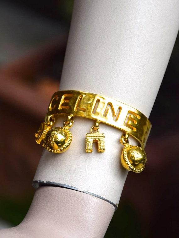 CÉLINE 1990 Triomphe Charms Signed Bracelet