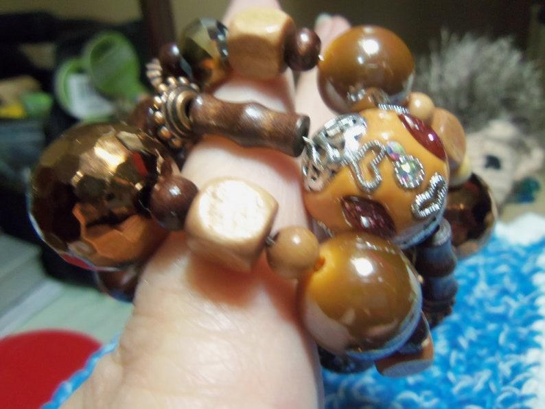 Chocolate Brown Wrap Style Beaded Bracelet copper and orange beaded bracelet