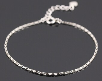 Thin Silver Chain Bracelet, Sterling Silver Bracelet, Dainty Silver Bracelet, Silver Bracelet Women, Delicate silver bracelet, Silver Charm