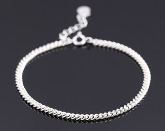 Thin Silver Chain Bracelet, Thin Silver Bracelet, Dainty Silver Chain Bracelet, Delicate Silver Bracelet, Sterling Silver Bracelet Women