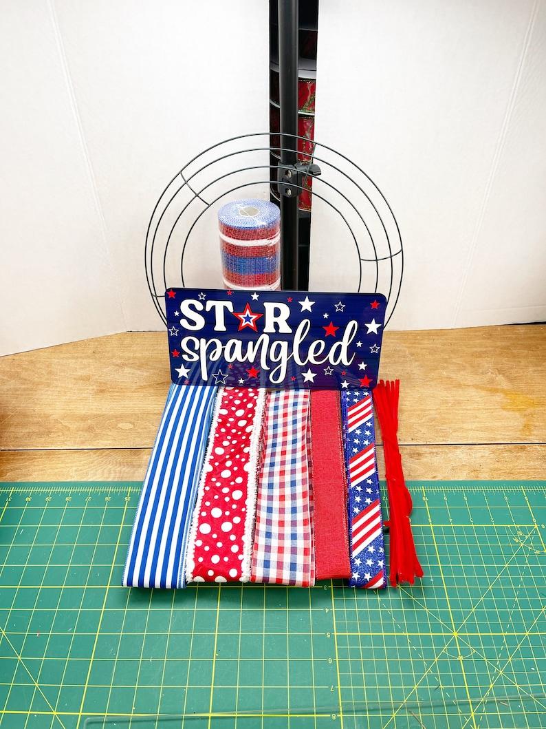 Patriotic wreath kit Decor DIY wreath gift Front door image 0