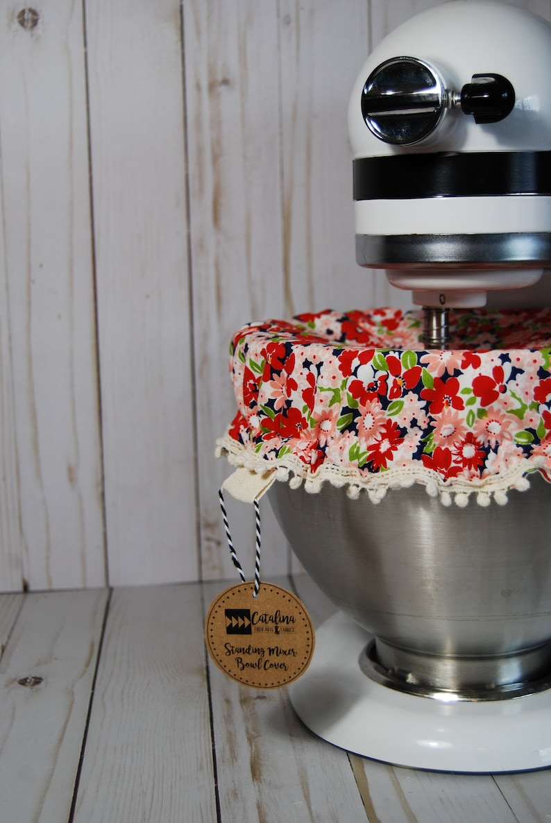 Kitchen Stand Mixer Bowl Cover Red Floral Etsy