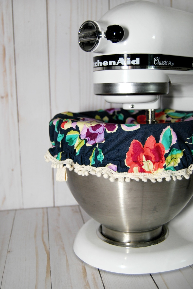 Kitchen Stand Mixer Bowl Cover Navy Floral Etsy