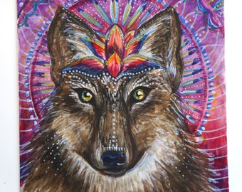 wolf animal wall art , wolf painting , wolf art painting , trippy art , visionary painting , visionary wall decor