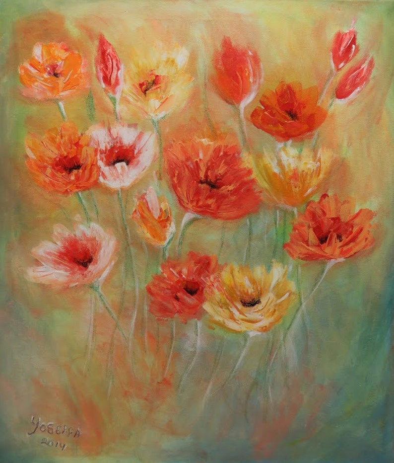 Abstract Painting Flowers Painting Beautiful Colorful Abstract Original Acrylic Painting On Canvas Wall Painting