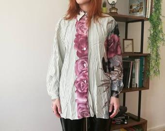 Elegant white blouse with big roses pattern