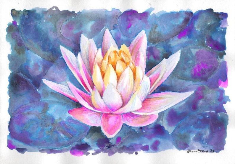 Lotus Flower Art Original Plant Art Floral Artwork Etsy
