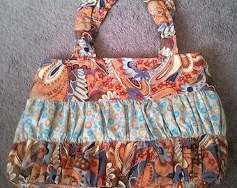 Paisleys and polka dot diaper bag