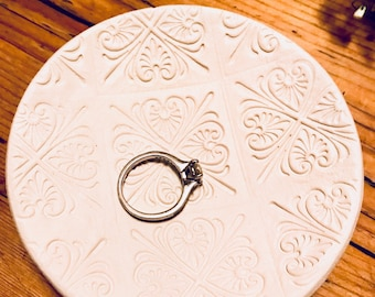 Handmade White Clay Stamped Patterned Ring Dish/Jewellery Dish/Trinket Dish