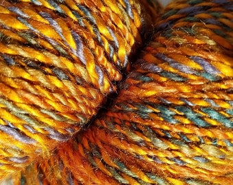 Hand Spun Yarn, Silk and BFL wool, gold, blue, green, 2 ply, sports--#118