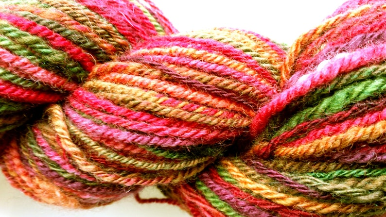 Red purple variegated green Blue Faced Leicester wool Hand Spun Yarn 3ply worsted--#114 Cottage Garden