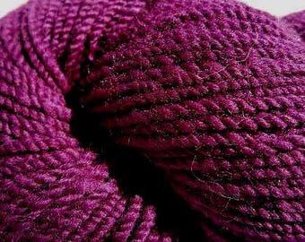"Hand Spun Yarn--soft Merino wool. ""Eggplant"" purple. Worsted 2 ply--#119"