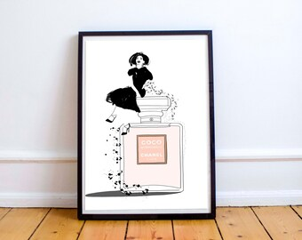 Happy Chanel - fashion illustration, drawing,  Fashion Illustration, print Fashion wall art poster art print home decor Chanel girl