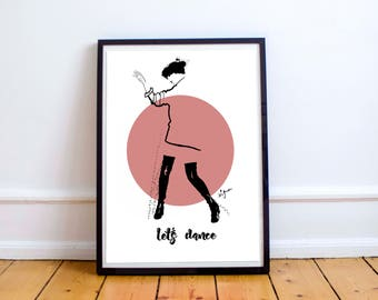 Let's dance - lovely illustration for special people, poster, fashion drawing, print, home decoration, paintings