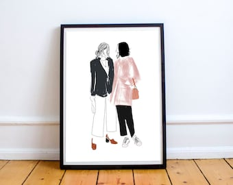 Friends in London - fashion illustration for special people, poster, print, art, drawing, painting, home decor, wall decor, cool, minimal