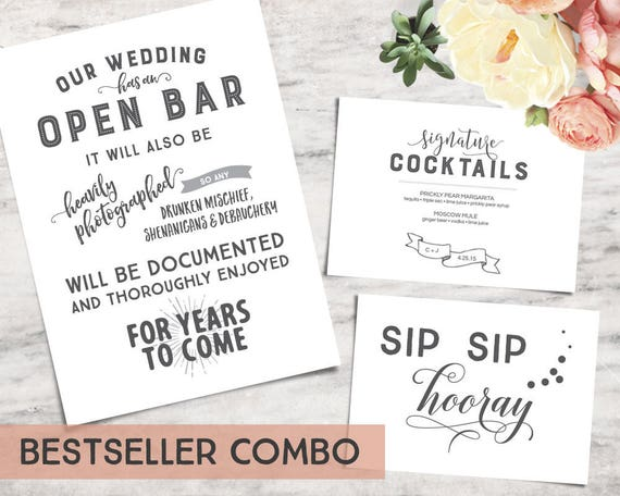 Three Pack Printable Wedding Bar Sign Templates Funny Bar Signage Instant Download