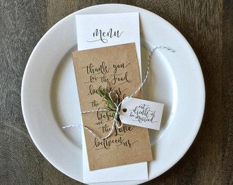 Printable Wedding Menu Templates, Printable Thank You Table Card - INSTANT DOWNLOAD