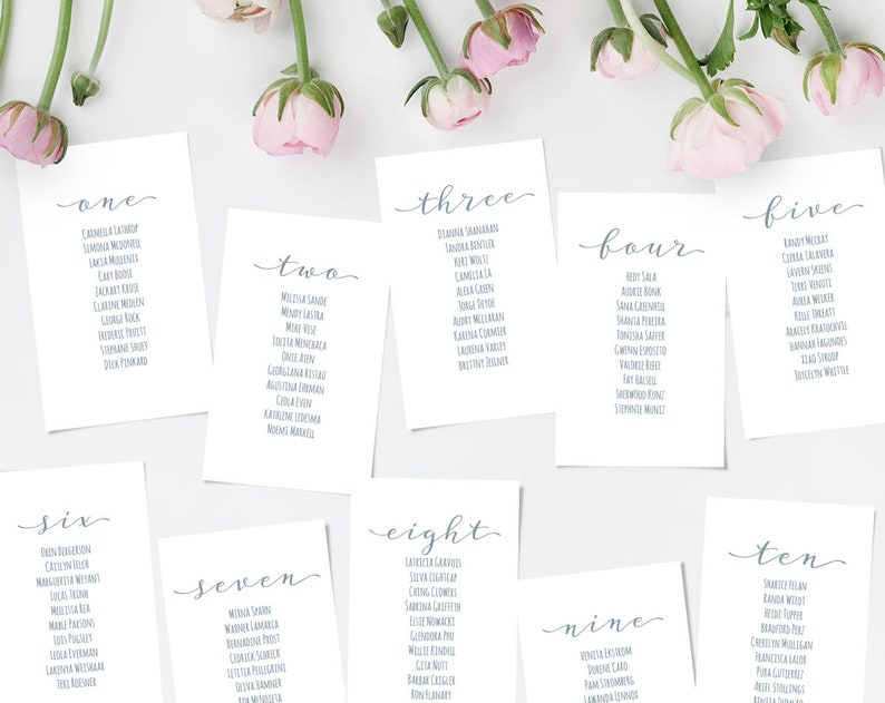 Printable Wedding Seating Chart Template Editable Seating Chart Cards Instant Download