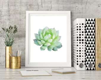 Succulent Art, Printable, Succulent, Plant, watercolor, Succulent Poster, Green, Succulent Wall Art, Gallery Wall Printable, Art Printable
