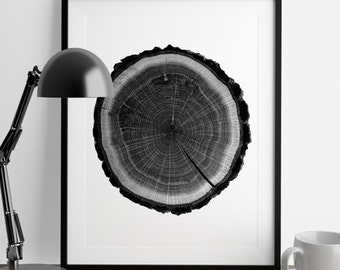 Log, Raw wood, ink blot, log rings, tree rings, Black and white, tree poster, tree art, log stamp, log print, Tree print, Black, gifts under