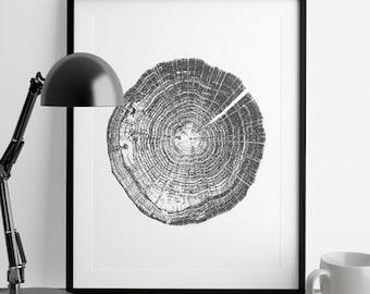 Tree rings, Log ring, Raw wood, ink blot, log rings, Black white, tree poster, tree art, log stamp, log print, Tree print, Black gifts under