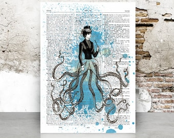 Dictionary page Octopus, victorian woman, A4 8.5 x 11 in, print at home, digital download, vintage, dictionary page, gothic, art, steampunk