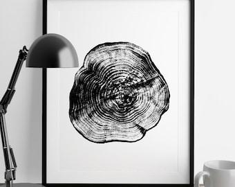 Tree Stump Tree Rings A4 ink blot, log rings, Black and white, tree poster, tree art, log stamp, log print, Tree print, gifts under