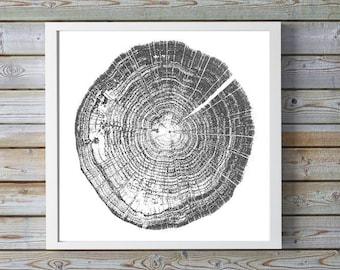 Tree Stump Tree Rings 20x20 inches ink blot log rings, Black and white, tree poster, tree art, log stamp, log print, Tree print, gifts under