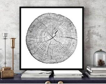 Tree Stump Tree Rings 40x40 inches ink blot log rings, Black and white, tree poster, tree art, log stamp, log print, Tree print, gifts under