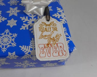 """Embroidered Gift Tag """"Best Gift Ever"""", Embroidery, Handmade, Gift, Holiday, Gift Giving, Present, Christmas"""