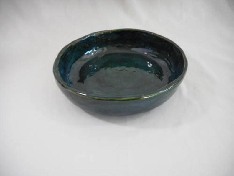 Turqoise Stoneware Ceramic Bowl, Handmade Pottery, Slip Cast, Hand Painted,  Kitchenware, Decor, Gift (B0155)